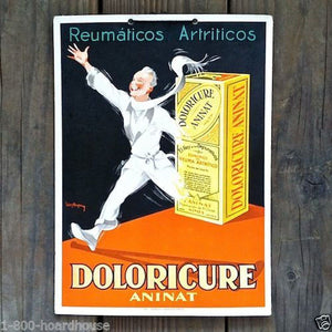 DOLORICURE ANINAT PAIN KILLER Cardboard Sign 1920s