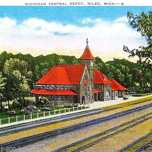 MICHIGAN CENTRAL RAILROAD Linen Postcard 1930s