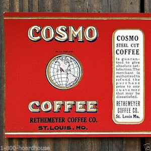 COSMO COFFEE Steel Cut Can Label 1910s