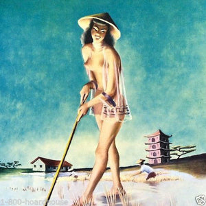 Chinese PINUP GIRL 1955 Calendar RICE FARMER