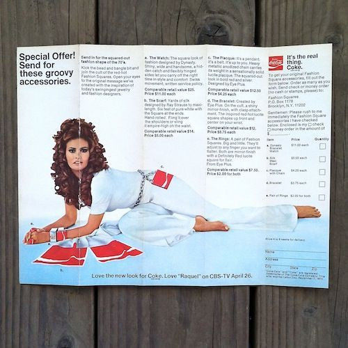 RAQUEL WELCH Coca Cola Advertisement 1970s