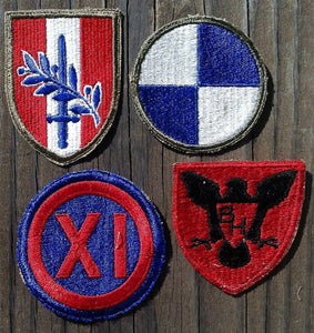 WWII ARMY MILITARY UNIT Uniform Patches 1940s