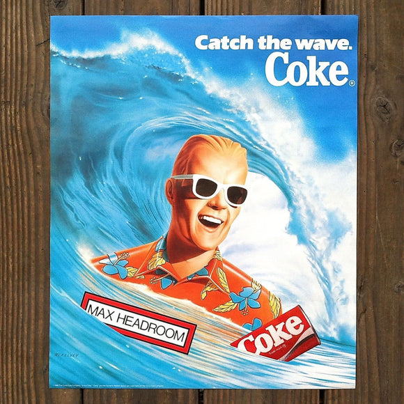 CATCH THE WAVE COKE Max Headroom Coca Cola Poster 1980s
