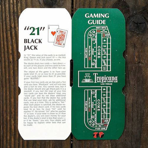 TROPICANA CASINO Gaming Guide Card 1960s