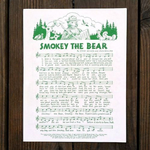 SMOKEY THE BEAR SHEET MUSIC + Pledge 1980s