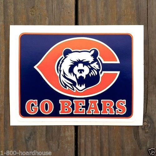 GO BEARS Chicago Bears Decal Sticker 1990s