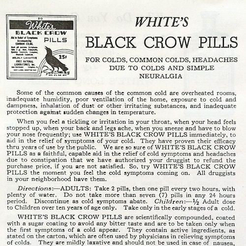 BLACK CROW PILLS Pharmacy Leaflet 1920s