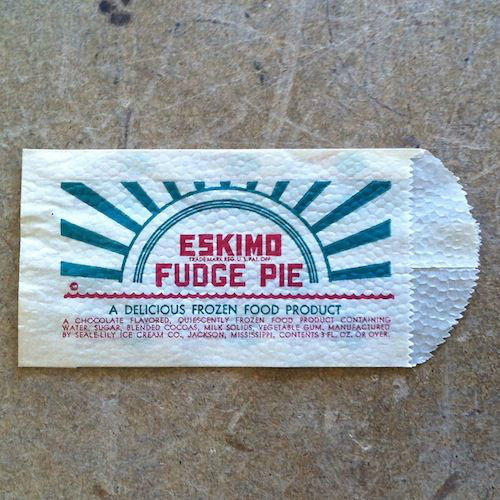 ESKIMO FUDGE PIE Ice Cream Snack Bag 1940s