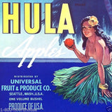 HULA APPLES Hawaiian Fruit Crate Box Label 1950s