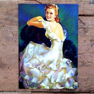 WOMAN FORMAL DRESS Art Lithograph Pinup Print 1940s