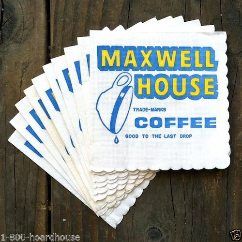 MAXWELL HOUSE COFFEE Scalloped Napkins 1950s