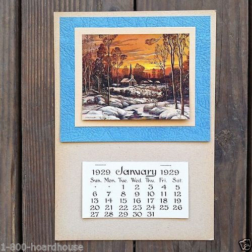 WINTER SCENE Grocery Promotional Ad Calendar 1920s