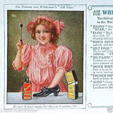 WHITEMORES SHOE POLISH Advertising Ink Blotter 1910