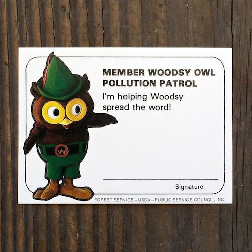 WOODSY OWL POLLUTION CONTROL Membership Cards 1970s