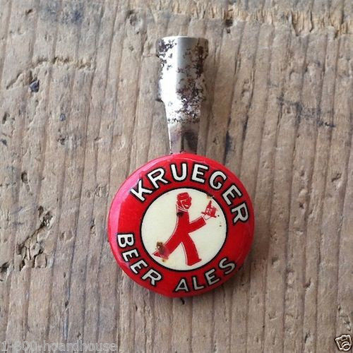 2 Original KRUEGER BEER METAL Tin Lithographed Litho Bar Pencil Clip 1930s NOS