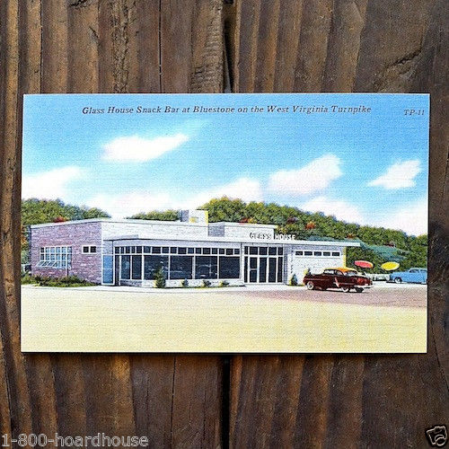 GLASS HOUSE Restaurant Postcard 1952