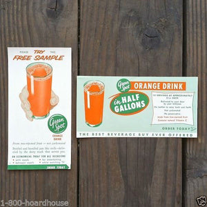 GREEN SPOT ORANGE DRINK Beverage Coupons 1940s
