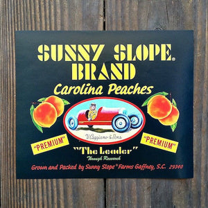 SUNNY SLOPE PEACH Fruit Crate Citrus Box Label 1950s