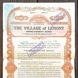 2 Vintage Original LEMONT VILLAGE ILLINOIS Bond 1920s Used Old Bank Note