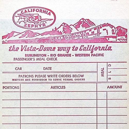 CALIFORNIA ZEPHYR Railroad Train Receipt 1940s
