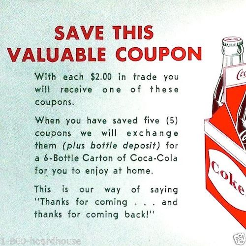COCA-COLA COUPONS  2 DIFFERENT  1960s