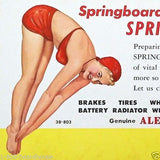 SPRING DRIVING Alemite Oil Pinup Advertising Card 1938