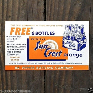 SUNCREST ORANGE SODA Advertising Card 1940s