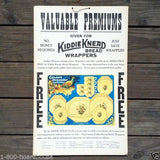 KIDDIE KNEAD BREAD WRAPPERS Cardboard Sign 1920s