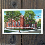 RED BRICK BUILDINGS Linen Postcards 1930s