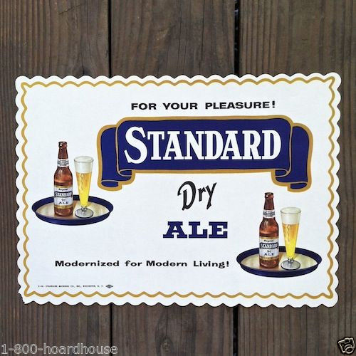 10 Vintage Original STANDARD DRY ALE BEER PAPER Placemats 1940s NOS Unused Stock