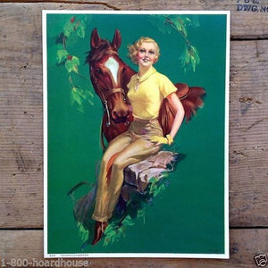THOROUGHBREDS HORSE Art Lithograph Pinup Print 1938