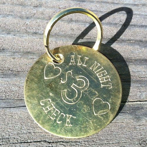 ALL NIGHT 3 DOLLAR CHECK Token Keychain 1960s