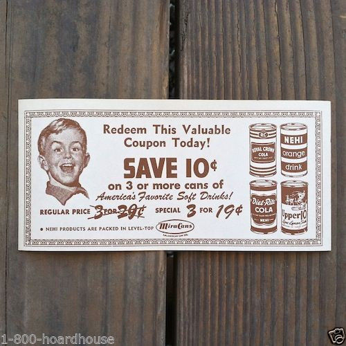 ROYAL CROWN NEHI SODA Redemption Coupon 1950