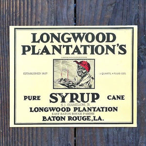 LONGWOOD PLANTATION'S SYRUP Can Label 1920s