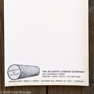 Original ATLANTIC LUMBER COMPANY Full Notepad 30 Pages 1960s