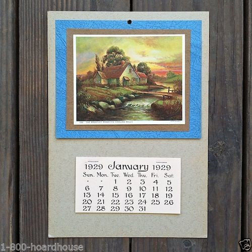 SUMMER SCENE Grocery Promotional Ad Calendar 1929