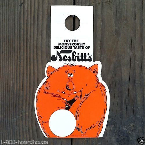 NESBITTS ORANGE SODA Bottle Topper Sign Store Display 1970s