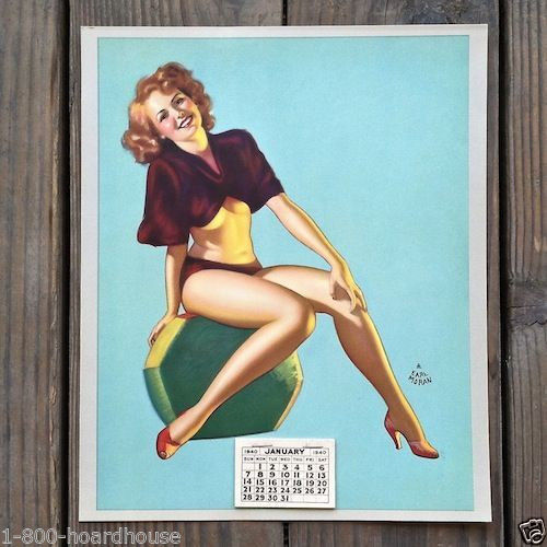 NEVER TO YOUNG Pinup Promotional Store Calendar 1940s