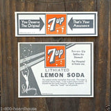 7UP SODA Lithiated Bottle Labels 1930s