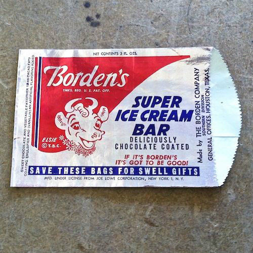 BORDEN'S SUPER Ice Cream Bar Bag 1950s