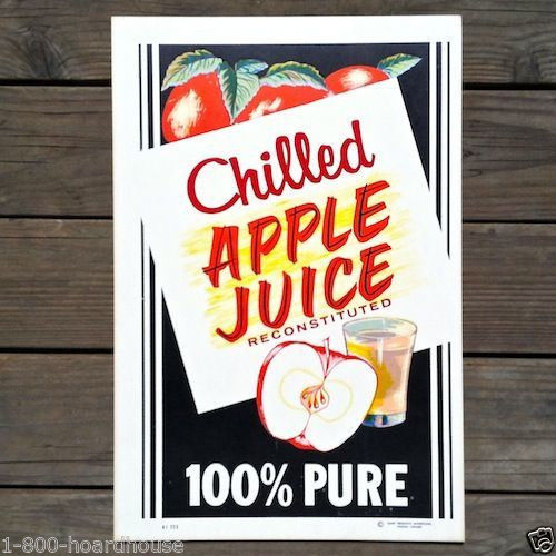 CHILLED APPLE JUICE Diner Cardboard Sign 1950s