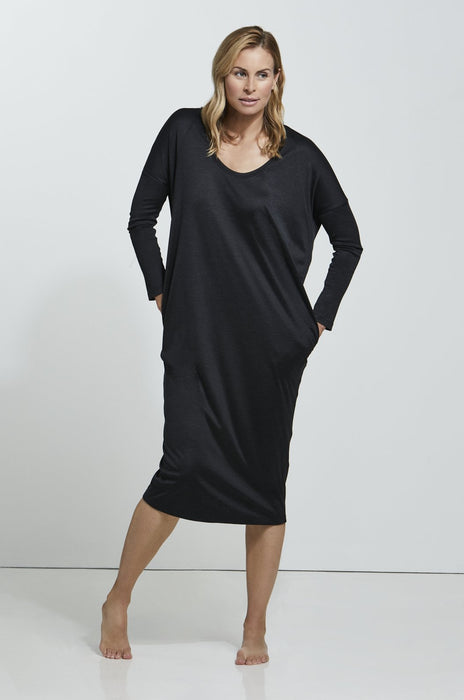 ROYL DOUBLE LAYER STRETCH SILK COCOON DRESS