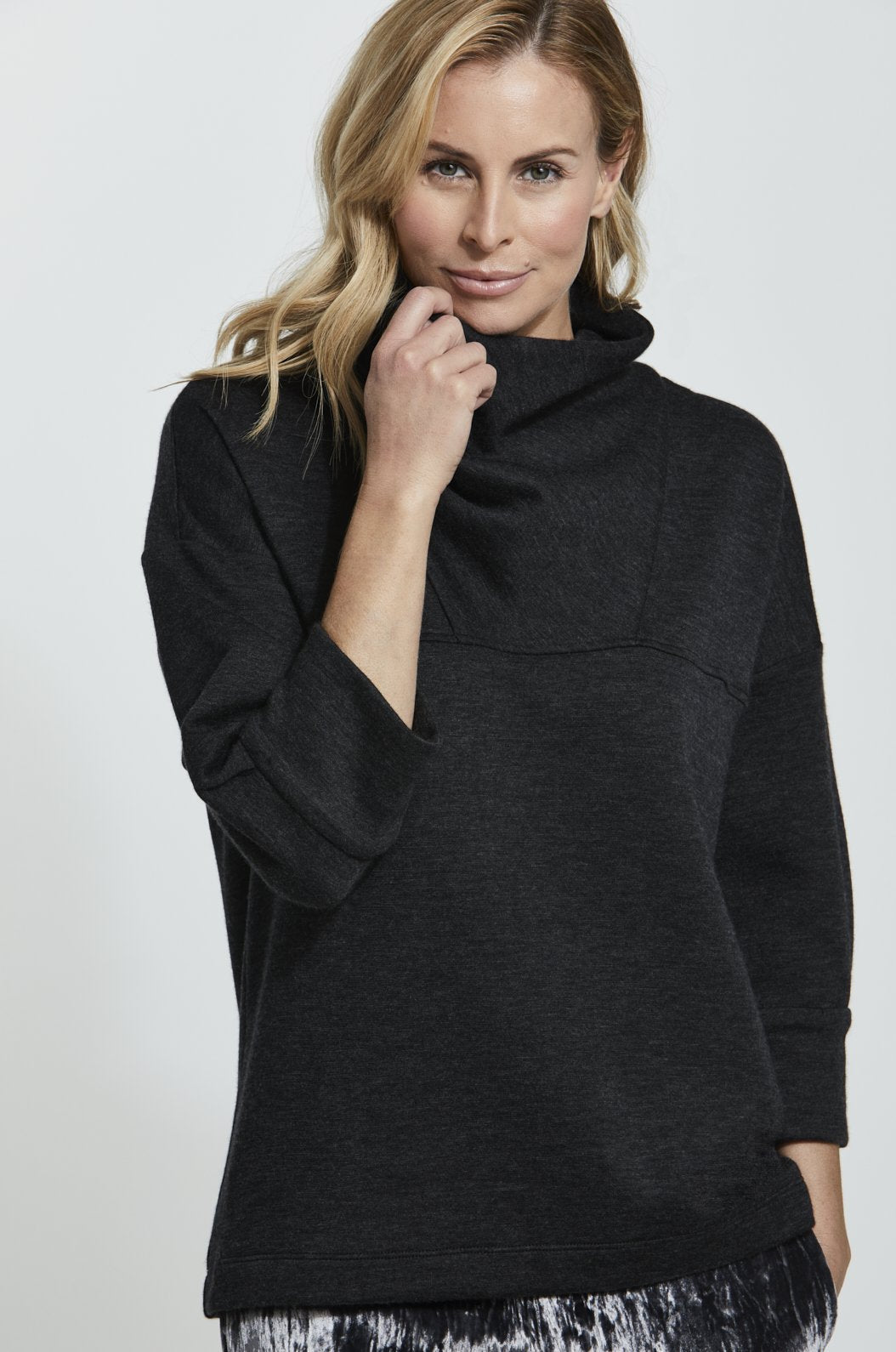 Luxury loungewear - ITALIAN CASHMERE COWLNECK PULLOVER
