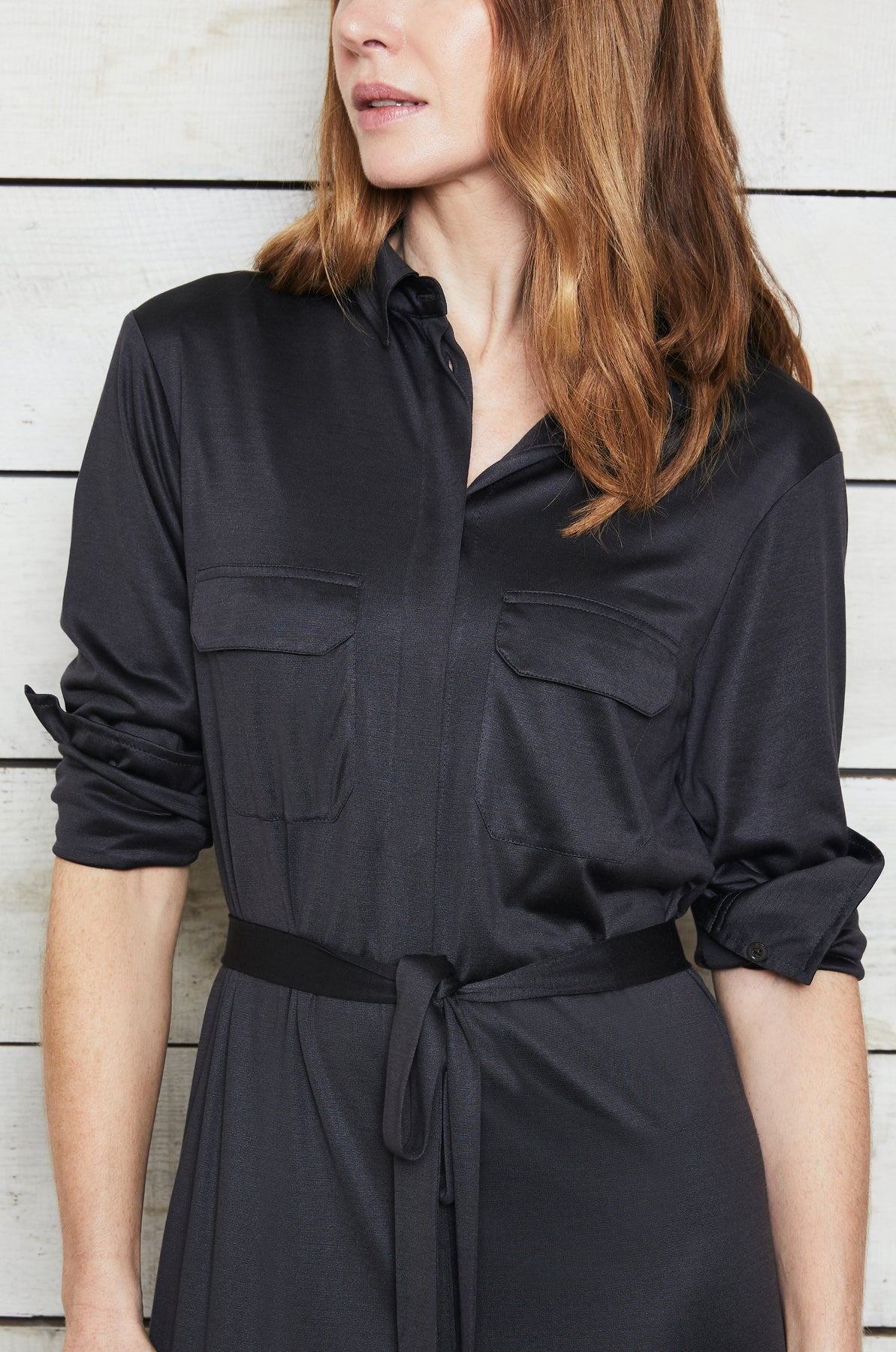 Luxury loungewear - LIGHTWEIGHT DOUBLE LAYER SILK SHIRT DRESS | ROYL