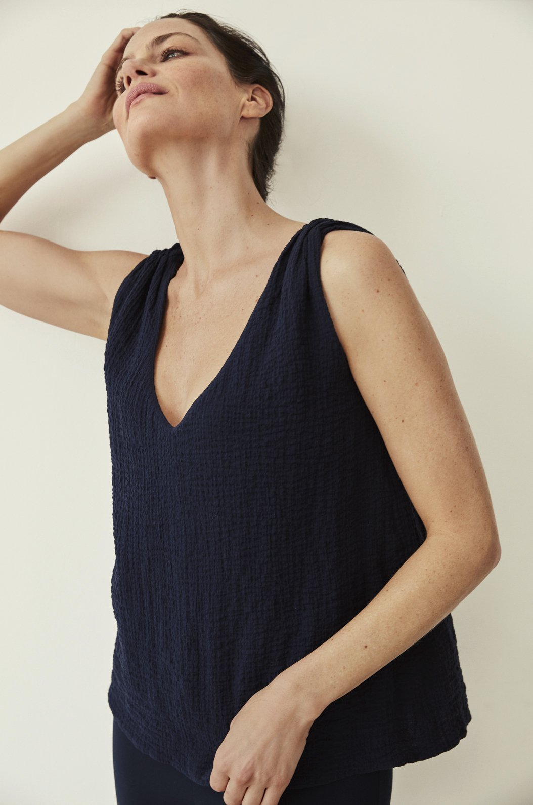 Luxury loungewear - TEXTURED SOFT COTTON PEASANT TOP | ROYL