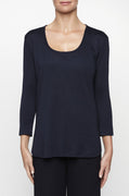 Luxury loungewear - LIGHTWEIGHT CASHMERE SILK 3/4 SLEEVE T
