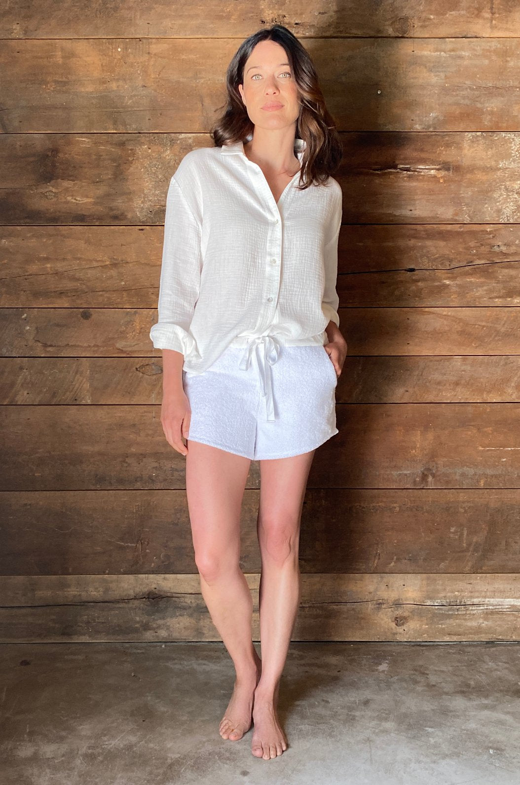 ROYL NYC | Luxury loungewear - RELAXED CRINKLE COTTON BUTTON FRONT | ROYL