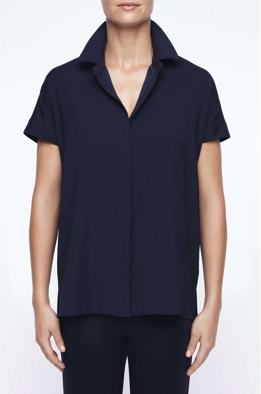 Luxury loungewear - SILK TWILL SHORT SLEEVE BUTTON DOWN | ROYL