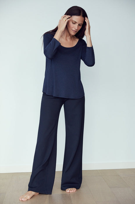 Luxury loungewear - LIGHTWEIGHT CASHMERE SILK 3/4 SLEEVE T | ROYL