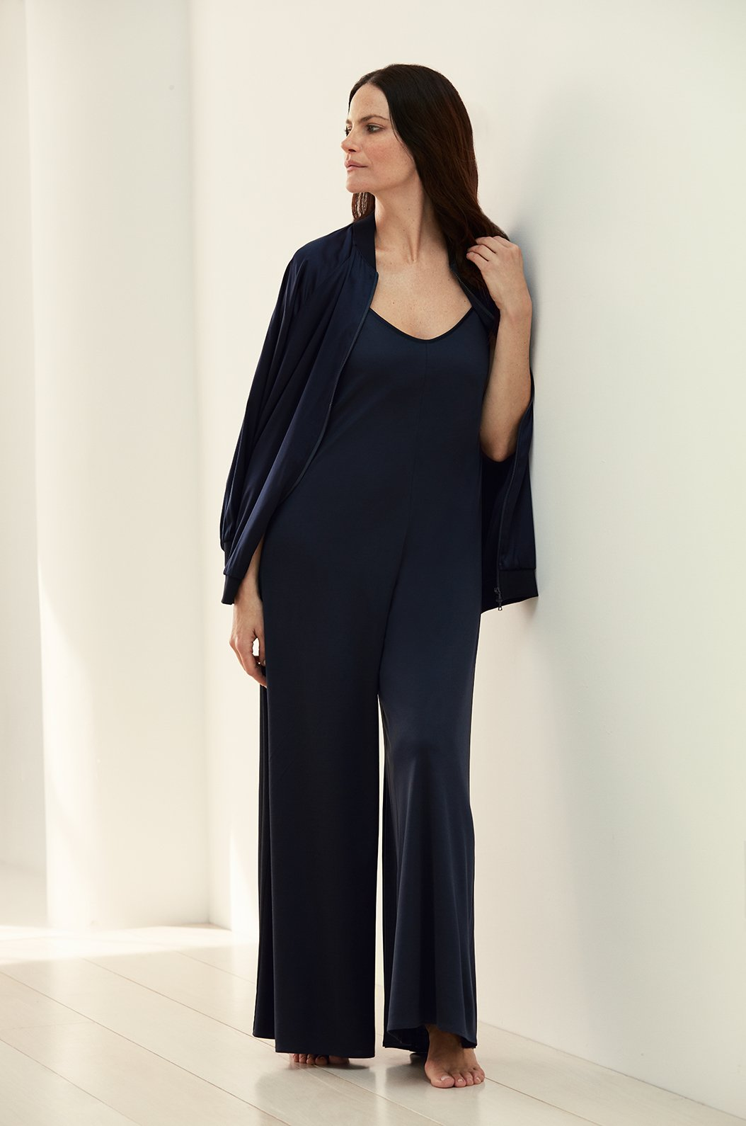 Luxury loungewear - STRETCH SILK PALAZZO JUMPSUIT | ROYL
